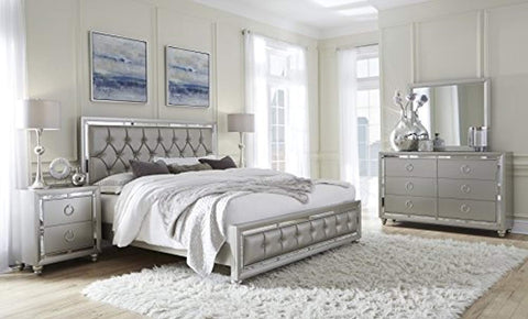 Tufted Bed, Queen, Silver, (only bed)