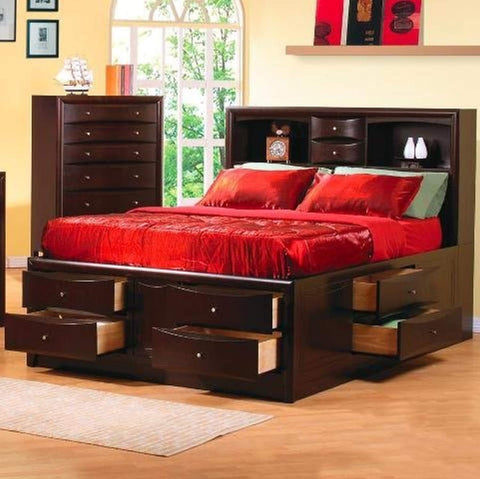 Coaster - Phoenix Contemporary Queen Bookcase Bed with Underbed Storage Drawers,
