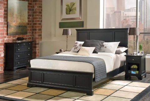 Home Styles  Bedford Queen Bed, Nightstand and Chest, Black Ebony Finish