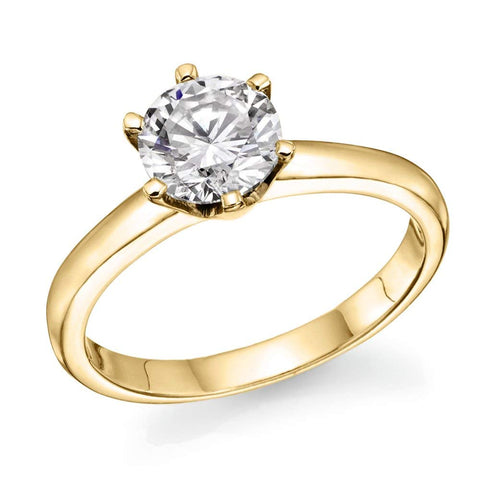 1/2 ct IGI Certified 14K White/Yellow Gold Round-Brilliant-Cut Diamond Engagement Ring