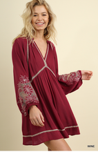 Fall Floral Sleeve Wine Dress