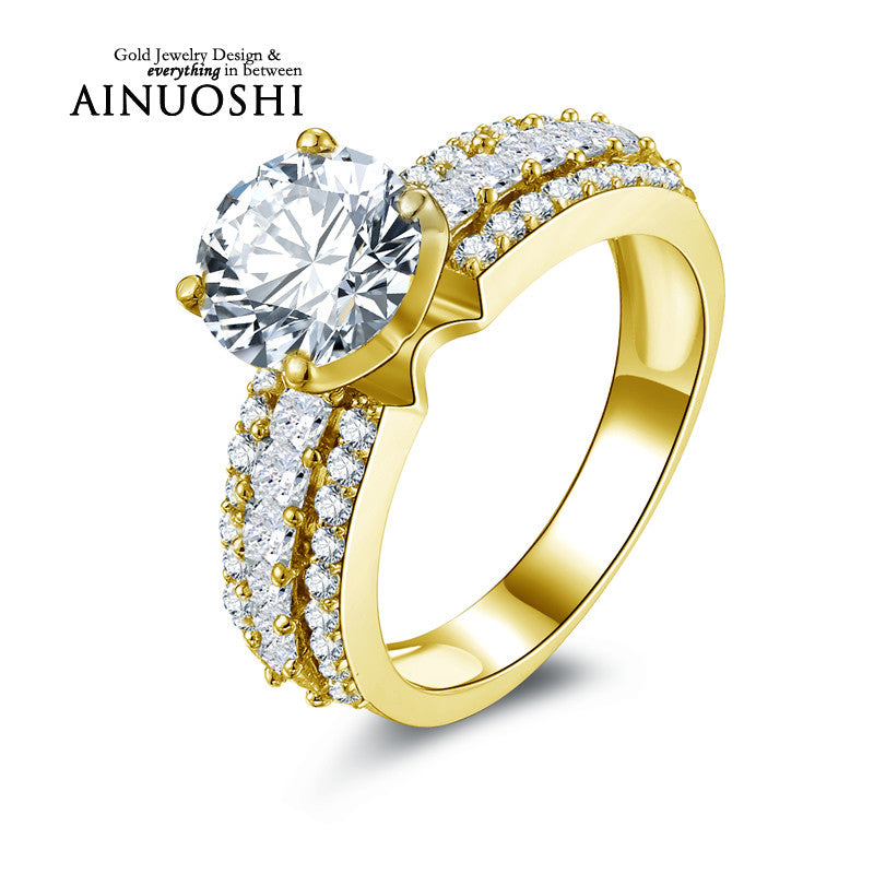 fashion wedding filled jewelry heart women engagement plated product princess rings alluvial cut gold bridal ring accessories flower