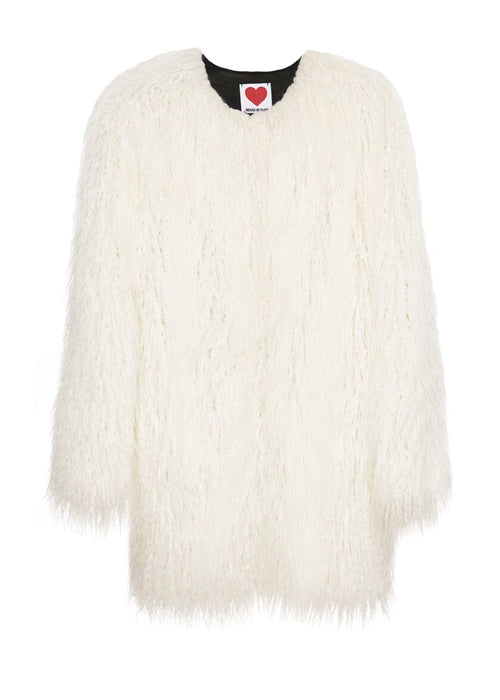 White Mongolian Lamb Coat