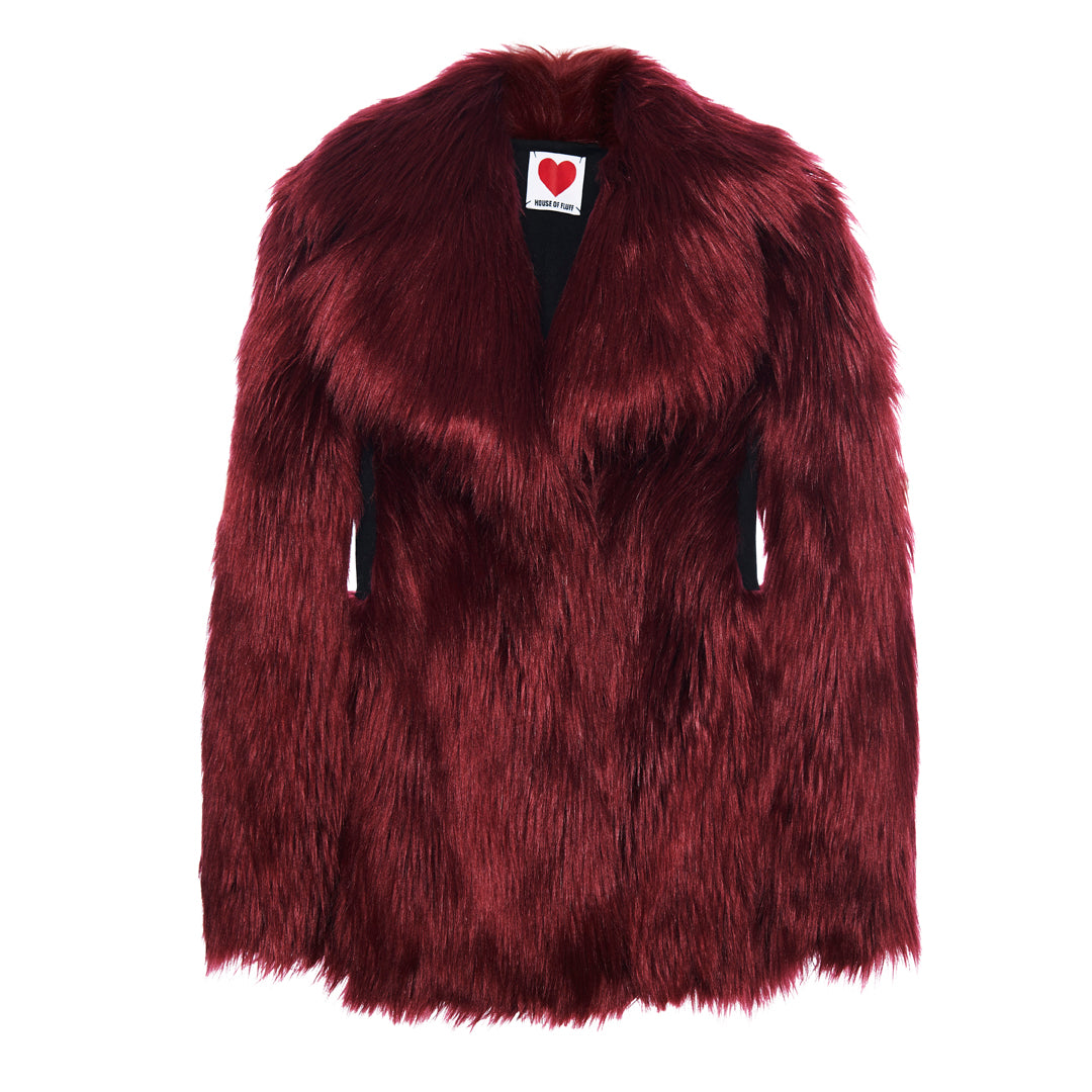Deep Red Fitted Fox Coat