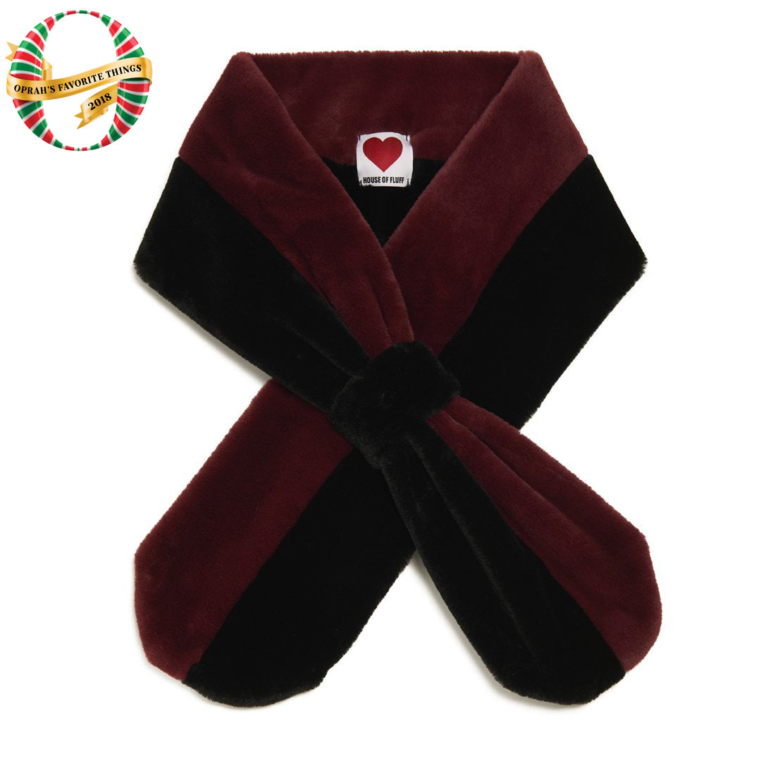 Burgundy Plush Teddy Pull-Through Scarf