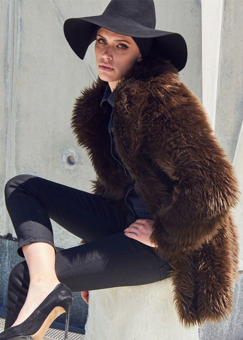 Brown Fitted Fox Coat