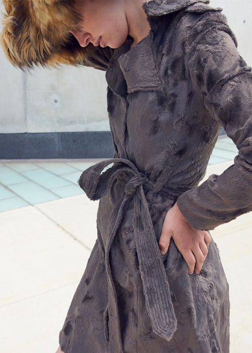 Velvet Fur Trench Coat