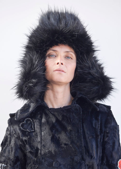 Black Fox Hair Trapper Hat