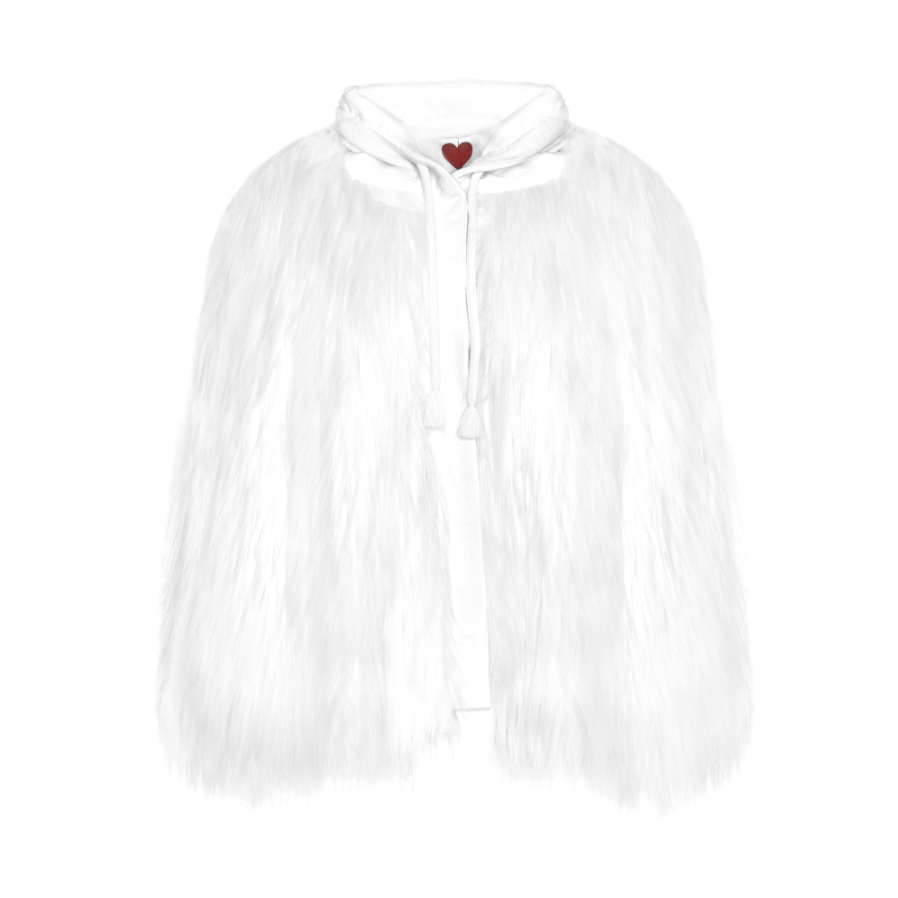 Hooded Yeti Sweatshirt Cape Jacket - White