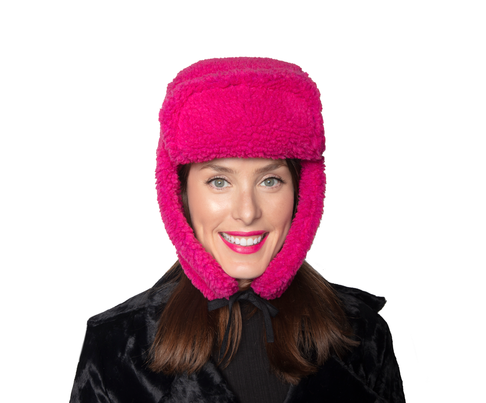 Faux Fur Shearling Hat - Raspberry