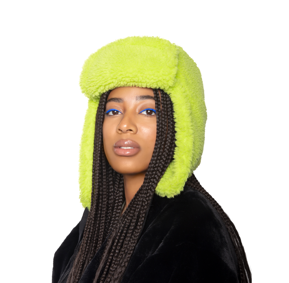 Faux Fur Shearling Hat - Citron