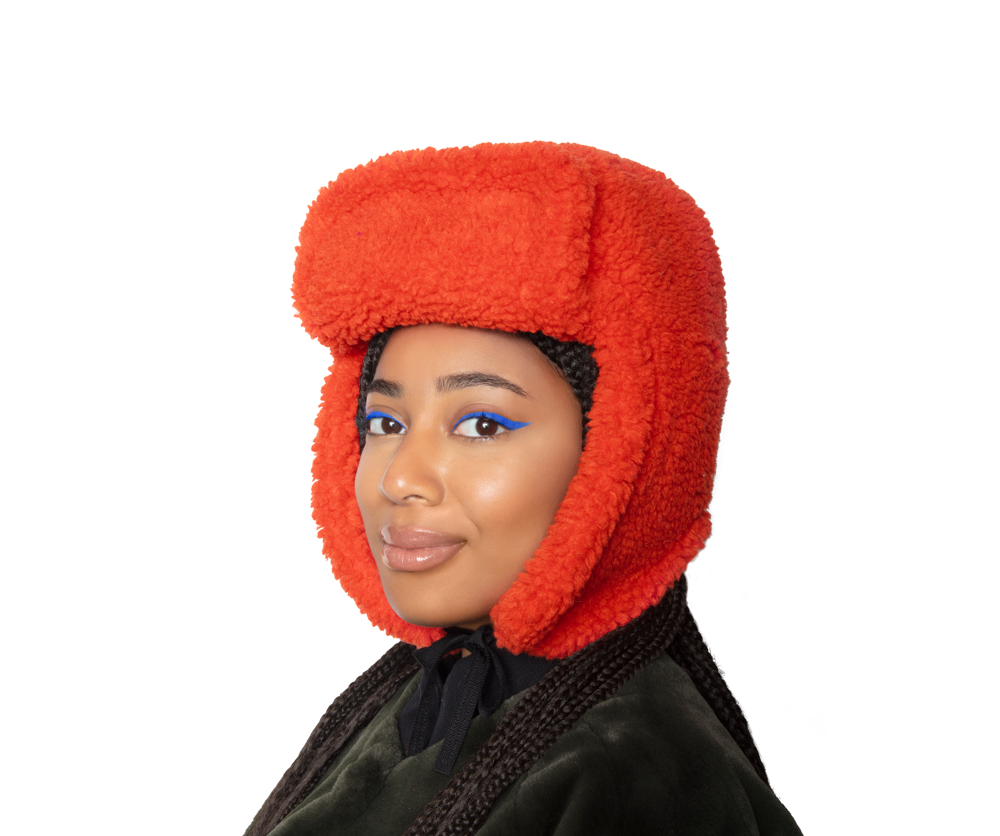 Faux Fur Shearling Hat - Tangerine
