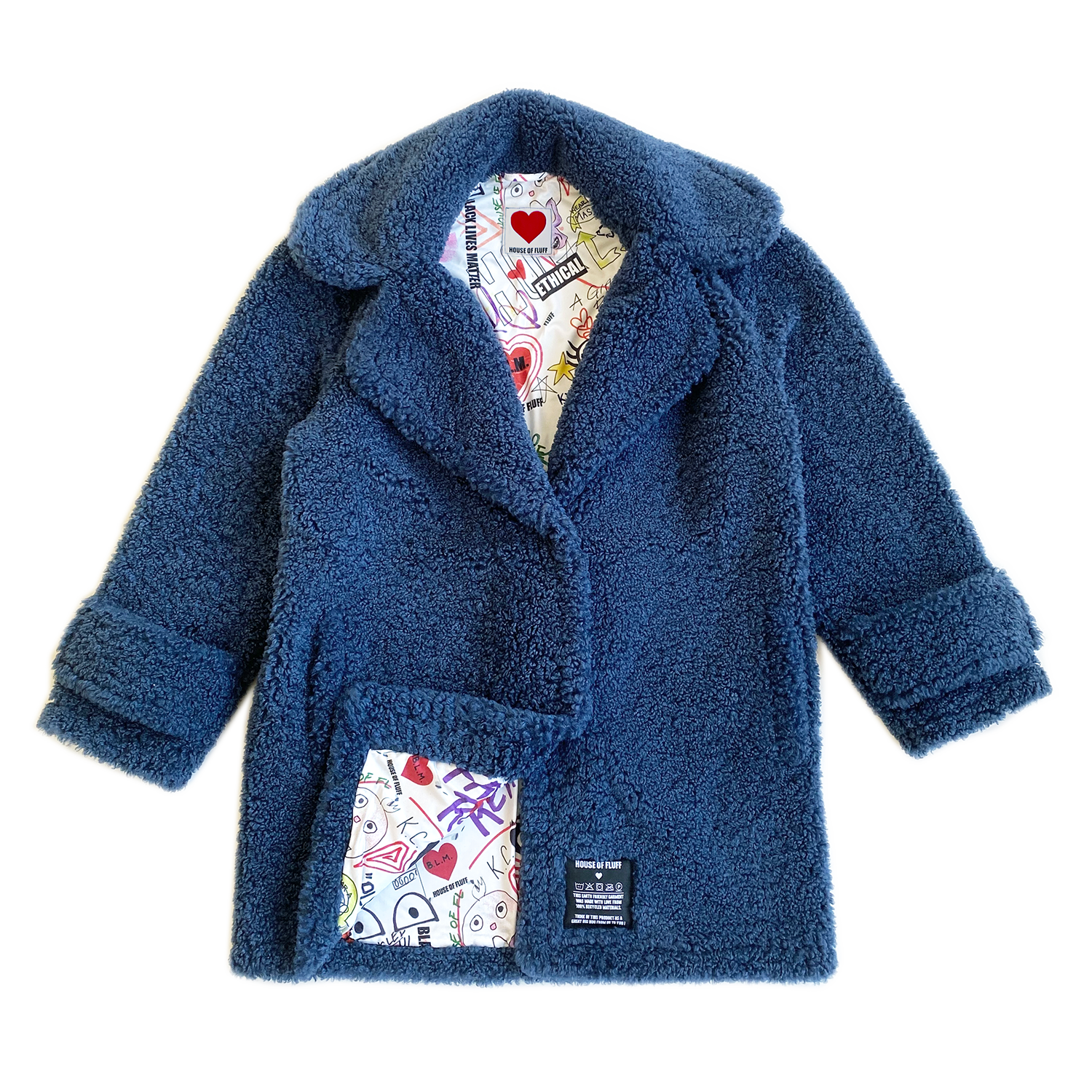100% Recycled Shearling Oversized Peacoat - French Blue