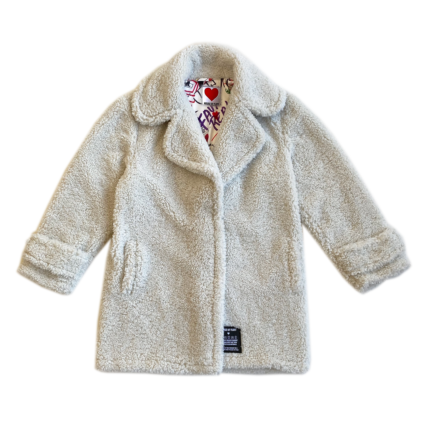 100% Recycled Shearling Oversized Peacoat - Ivory - House of Fluff
