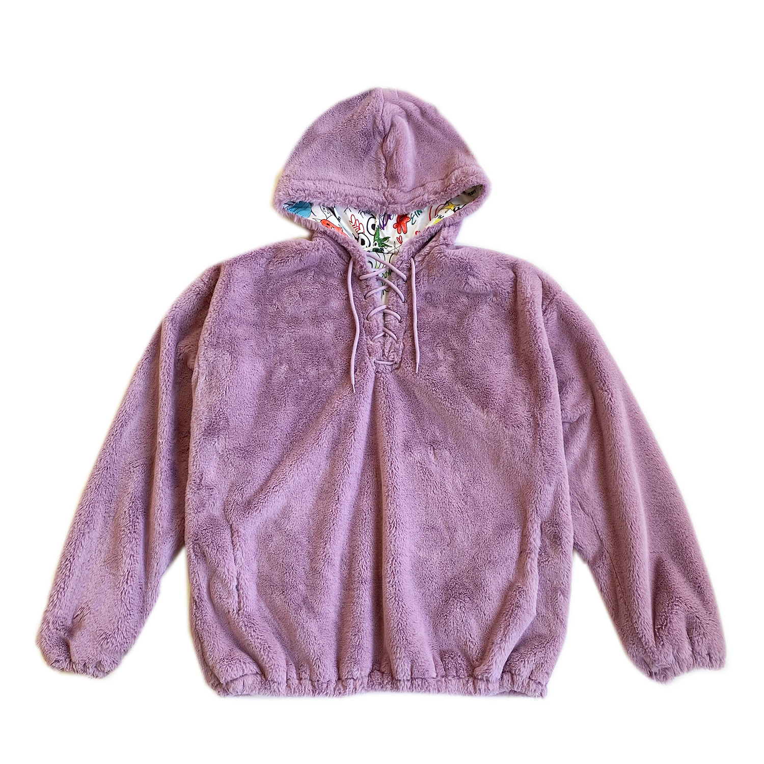 100% Recycled Teddy Lace-up Hoodie - Lavender
