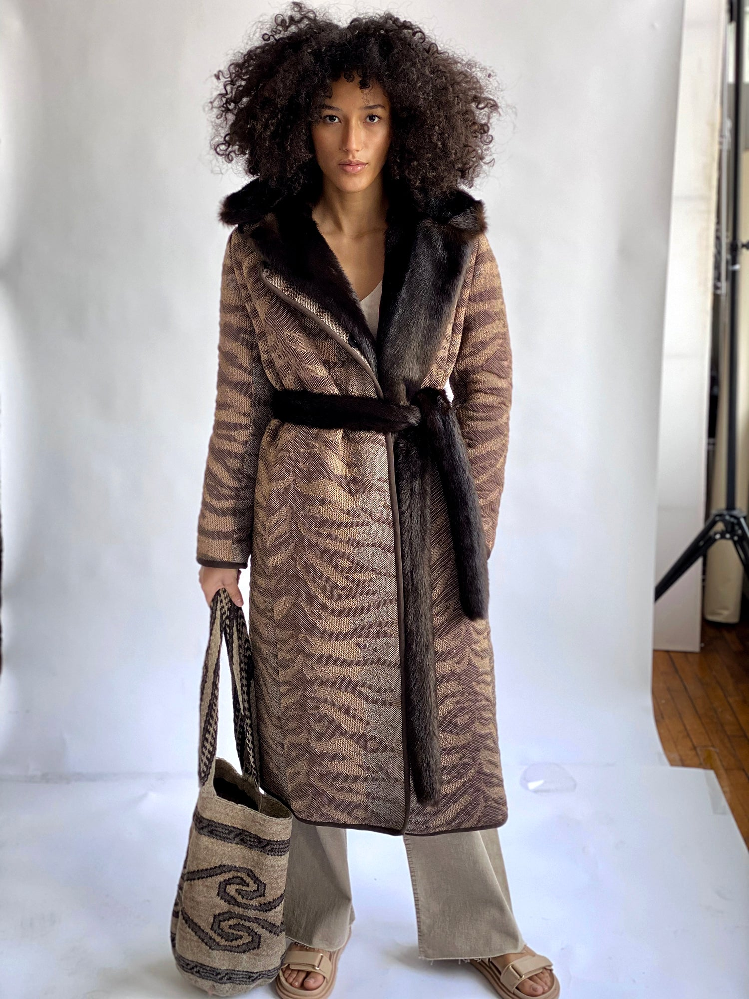 Tiger Print Seasonless Knit Coat
