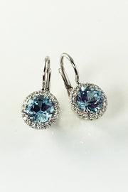 Aquamarine Halo Earrings