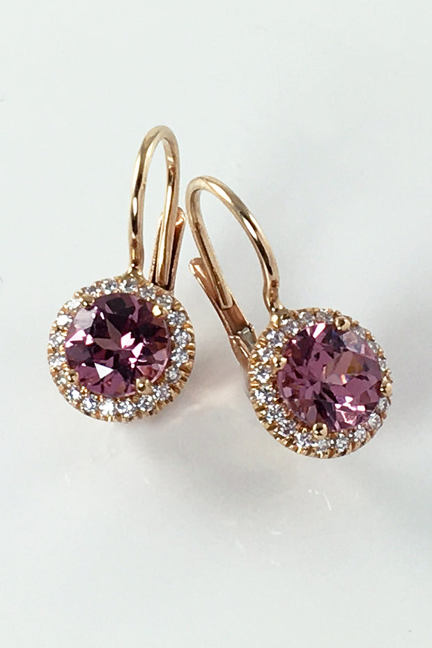 Rhodolite Halo Earrings