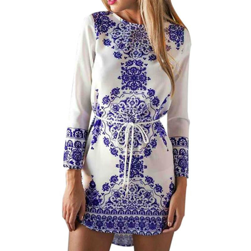 Vintage Summer Style  Fashion Women Long Sleeve O-Neck Floral Printed Dress Casual Sexy Mini Dress  Plus Size