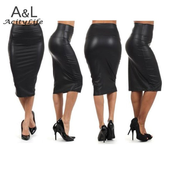 68b048b72806 New Autumn Red Pencil Skirt Women Plus Size High Waisted Skirt Leather Skirt  black Leather Pencil ...