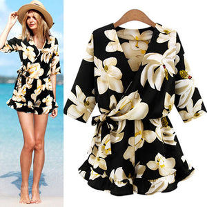 9caeb8f0309 Hot Sale New Style Fashion Women s Playsuits Plus Size Rompers Floral Print  Summer Jumpsuit Women Beach