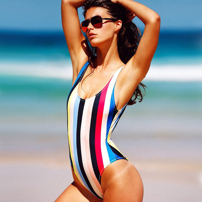 New Arrival One Piece Swimsuit Backless Patchwork Swimwear Brazilian Sexy One Piece Bikini Plus Size
