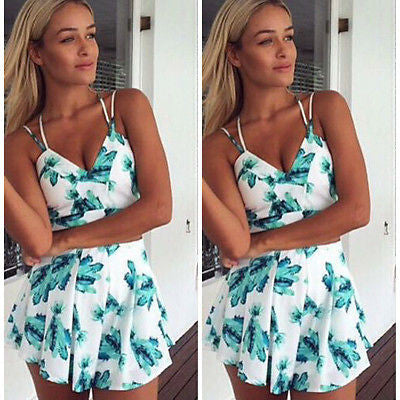 Women Ladies Clubwear V-Neck Playsuit Bodycon Party Suspender Trousers