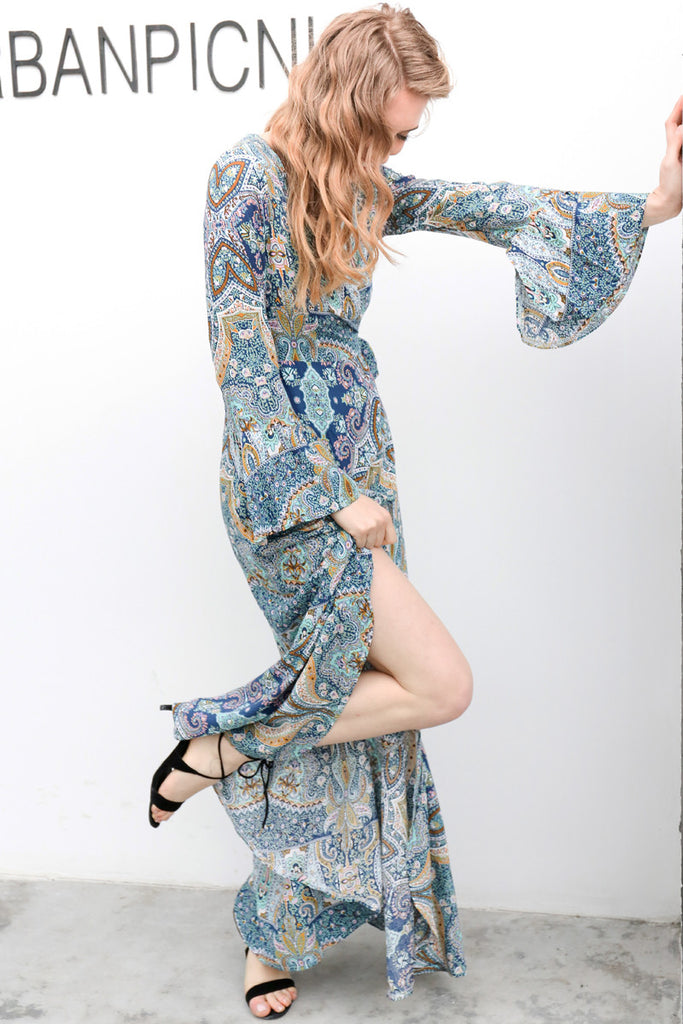 b06bdb308a5 ... Boho floral print chiffon split long dress Women beach summer v neck  kimono sexy dress Eleagnt ...