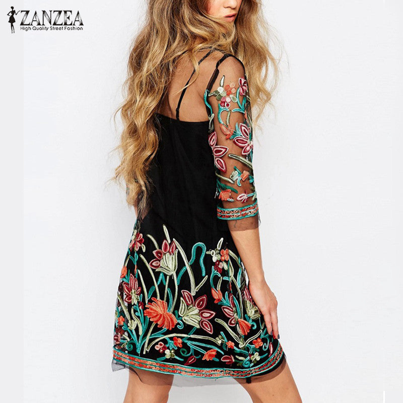 Summer Dress 2017 Boho Vintage Floral Embroidery Lace Mesh Mini Dresses Casual See Through Vestidos Plus Size