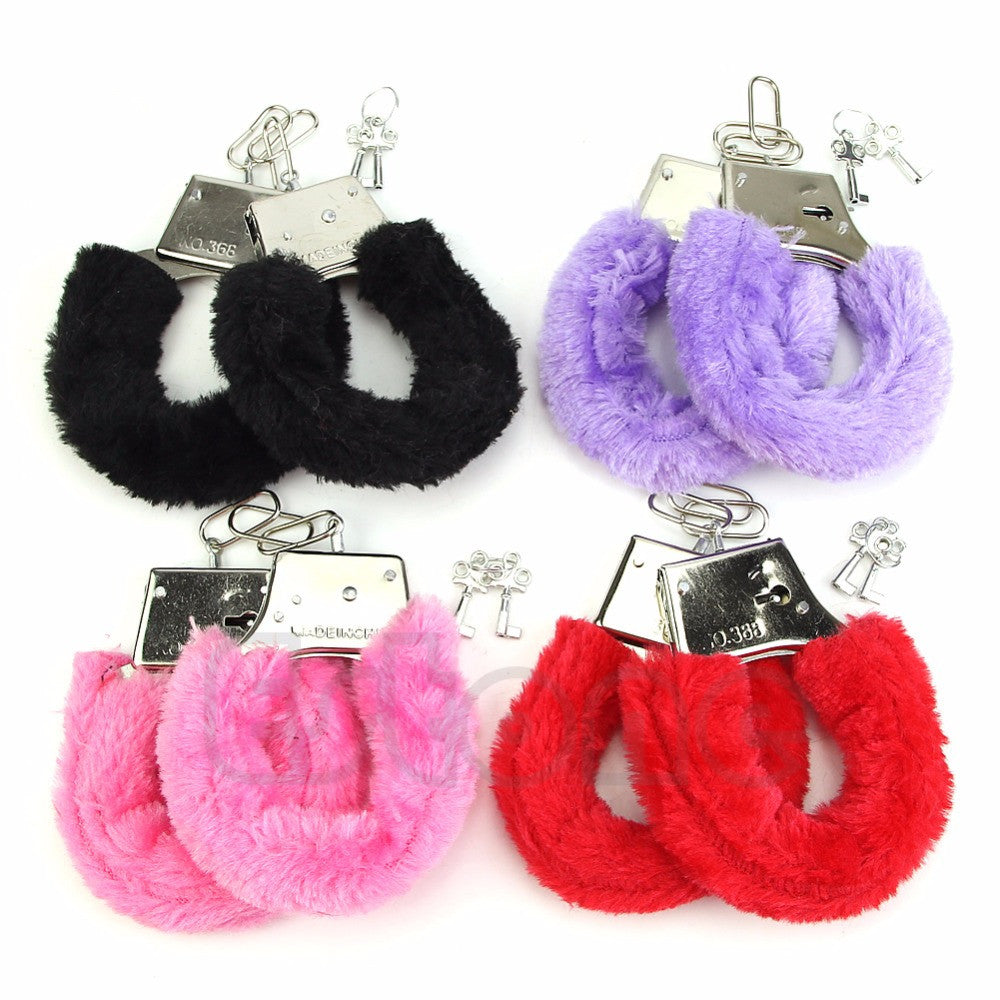 New Sexy Furry Fuzzy Handcuffs Soft Metal Adult handcuffs for sex role-play Hen Night Party Game Gift sex toys
