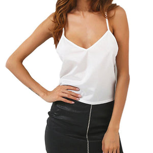 98dcfd53888 2017 Summer New Women Camis V Neck Vest Lace Hollow Out Backless White Spaghetti  Strap Women