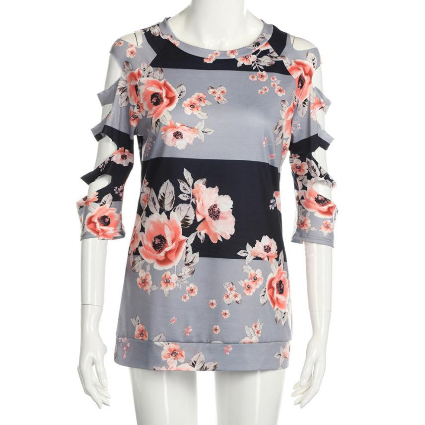 9f51d036 ... Sexy Hole T-shirt Women Off Shoulder Shirt Casual Loose Tops Ladies  Floral Printing Multicolor ...