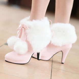 372f739a51cf ... high heels thick heel women fashion rabbit fur martin boots snow boots pink  white black wedding ...