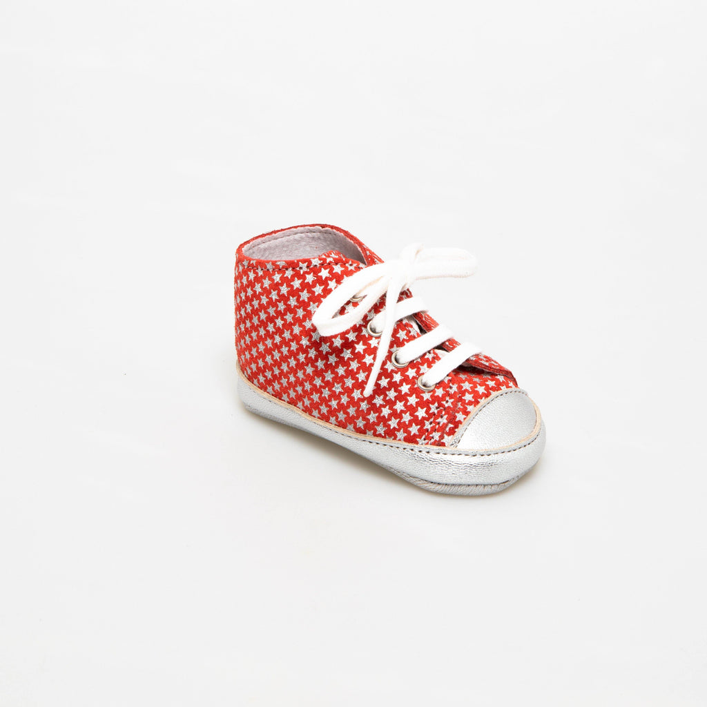 Sneaker Baby shoe | Alex red with silver stars
