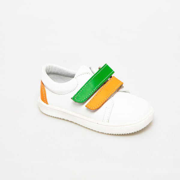 Sneaker Kid shoe | Mael Neon White & Orange/Green