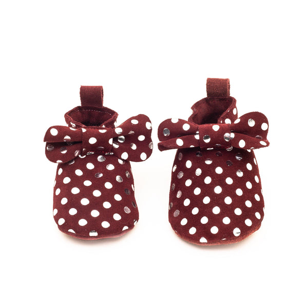 Alice Burgundy with silver dots | Slipper with bow Baby shoe