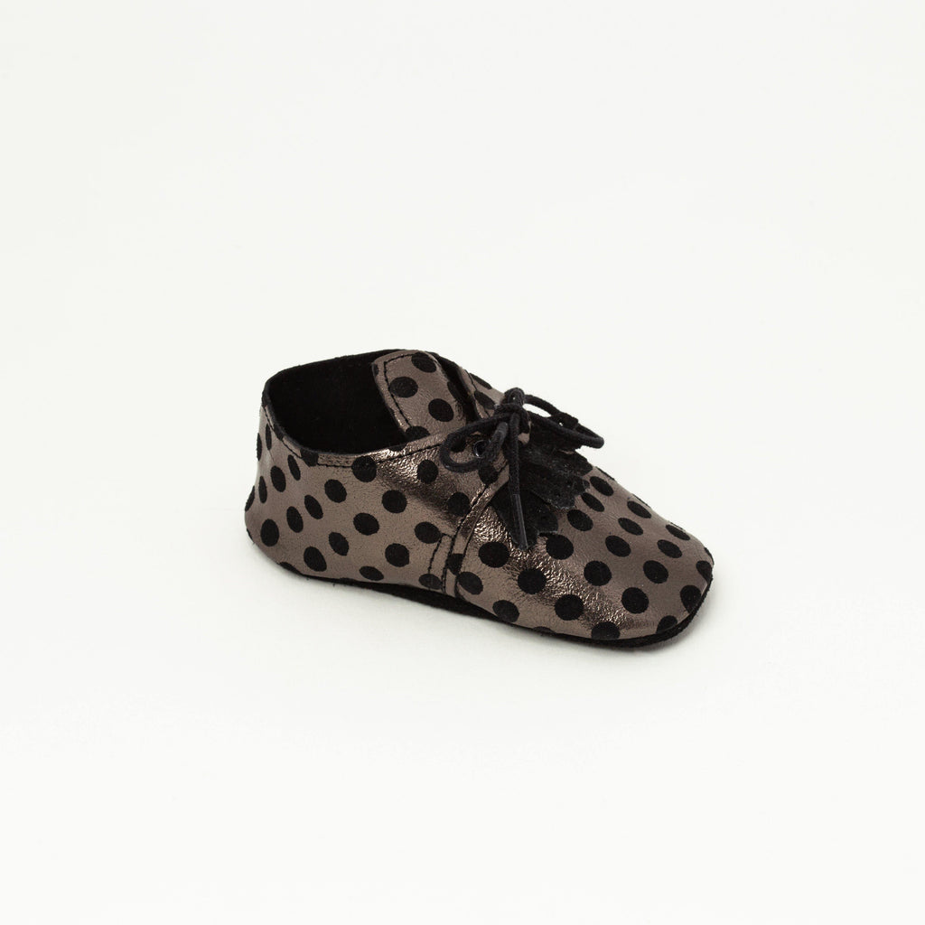 Derby Baby shoe | Augustina Black with silver dots