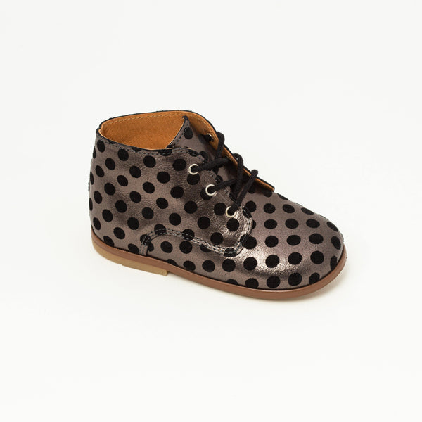 Derby Kid shoe | Desire Black with dots