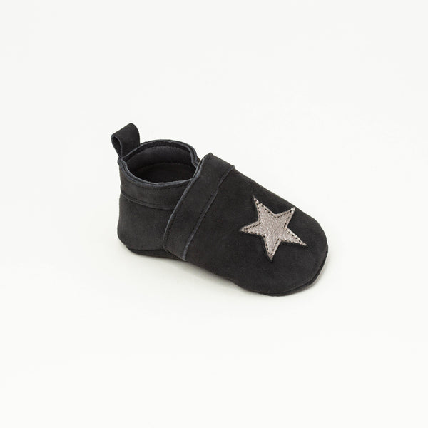 Slipper Baby shoe | Gwenaël Black/Silver