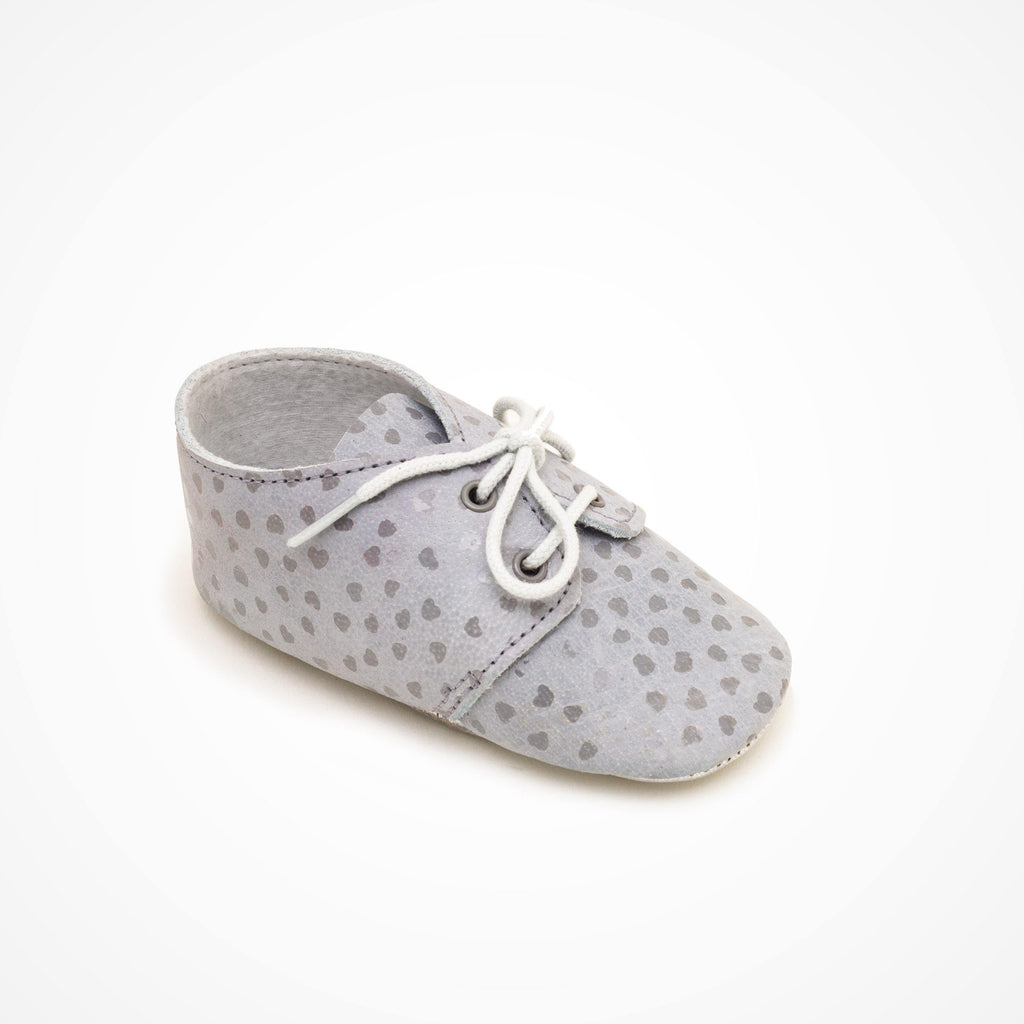 Derby Baby shoe | Lou Blue with silver heart