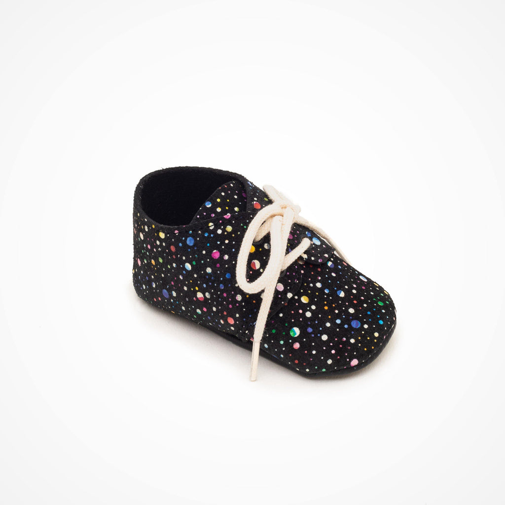 Derby Baby shoe | Lou Black & Multicolor dots