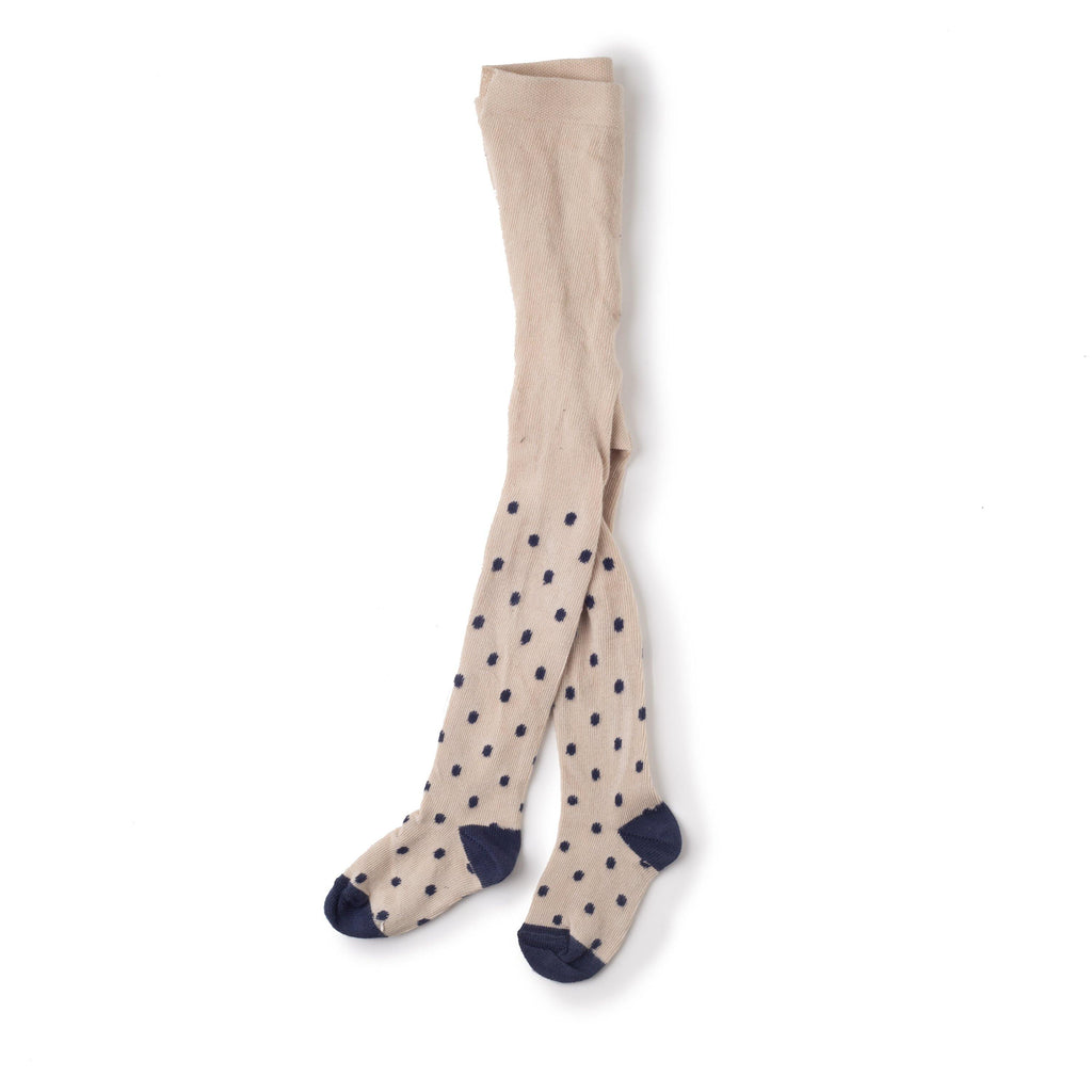 LOU MORGAN Beige with Blue dots | Tights