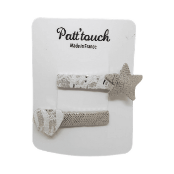 Hair clip | Vesta star/heart gold/white - Patt'touch English