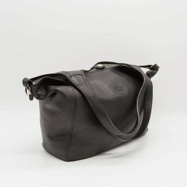 Bordeaux | Black leather changing bag