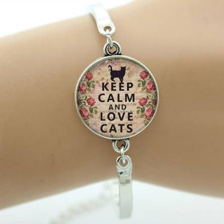 Katten armband - keep calm and love cats   Katten kattenbox dames kat poezen kattenbox.com