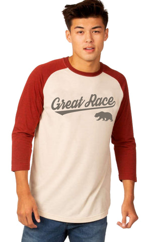 Super Soft Tri-Blend Baseball Tee - Unisex - Black Cherry