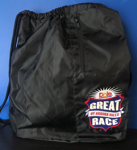 Great Race Embroidered Wide Drawstring Backpack
