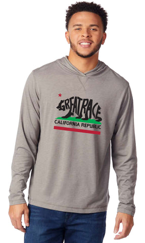 Men's California Bear Hooded Long Sleeve Tri-Blend Tee