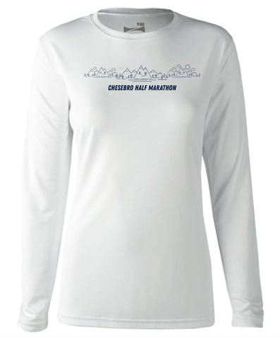 Chesebro Half Women's White Long Sleeve Tech Tee