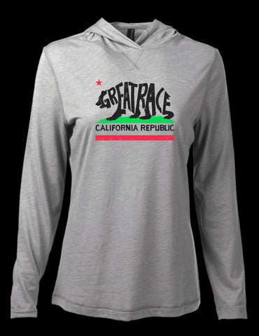 Women's California Bear Hooded Long Sleeve Tri-Blend Tee